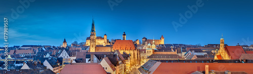 canvas print picture Nürnberg Panorama bei Nacht
