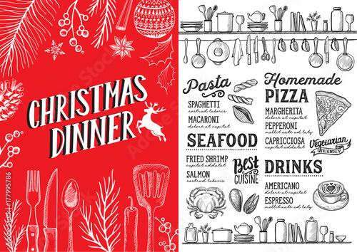 Christmas menu food template for restaurant. - 177995786
