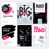 Black Friday sale banners. Set of social media web banners for shopping, sale, product promotion. Vector illustrations for website and mobile website banners, email and newsletter designs, ads. - 177995938