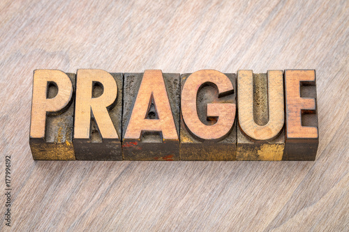Prague word abstract in wood type Poster