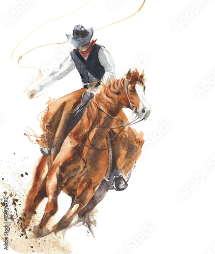 Cowboy riding a horse ride calf roping watercolor painting illustration isolated on white background