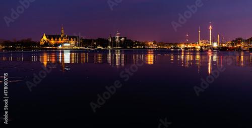 Aluminium Stockholm Lights at night in Stockholm city.