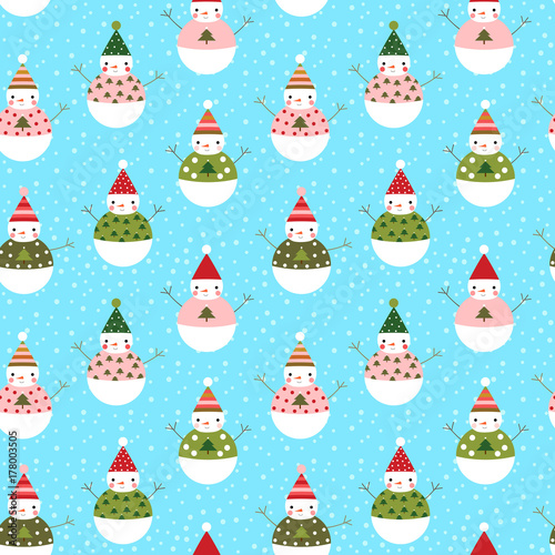 Materiał do szycia Cute vector seamless pattern with snowmen with hats for winter and Christmas designs and wrapping paper