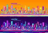 Futuristic City skylines at day and night