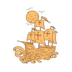 Caravel Sailing Ship Moon Drawing