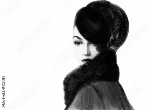 Fotobehang Anna I. Beautiful woman with hat. fashion illustration