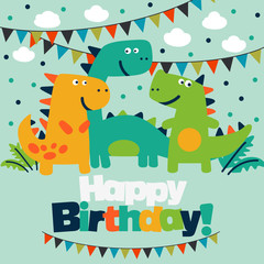 Happy birthday - lovely vector card with funny dinosaurs © cristinn