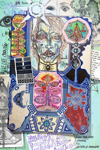 Staande foto Imagination Collage con sciamano,incantesimi,simboli e segni esoterici