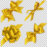 Decorative golden bow with diagonally ribbon for corner decor. New year holiday decorations. Vector realistic yellow bow - 178030527