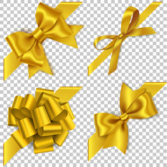 Decorative golden bow with diagonally ribbon for corner decor. New year holiday decorations. Vector realistic yellow bow