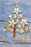 Merry Christmas: Background, decoration with stars on old blue wooden board :) - 178032368