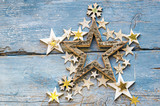 Merry Christmas: Background, decoration with stars on old blue wooden board :) - 178032557