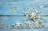 Merry Christmas: Background, decoration with stars on old blue wooden board :) - 178032711