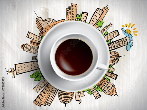 Coffee cup concept - city doodles with cofee mug - 178035973