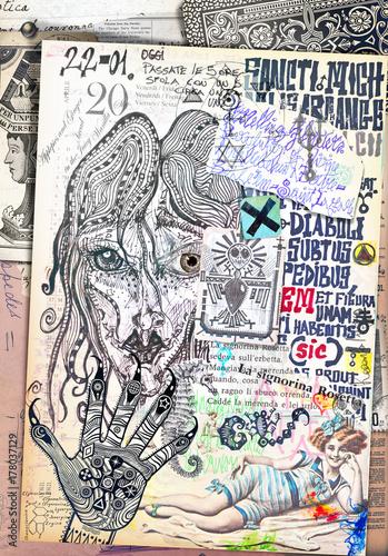 Deurstickers Imagination Collage e disegni con simboli e elementi etnici,esoterici e astrologici
