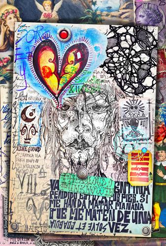 Papiers peints Imagination Collage e disegni con simboli e elementi etnici,esoterici e astrologici