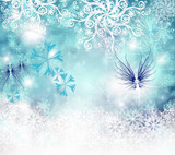 Merry Christmas: Blue background  with stars  :) - 178037764