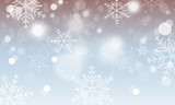 Abstract vector winter wallpaper. Snowflakes, circles and glowing elements. - 178038332