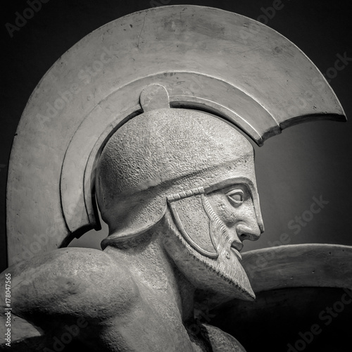 Poster Man in helmet Greek ancient sculpture of warrior