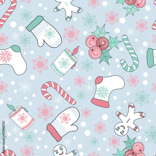 Seamless pattern for Christmas packaging, textiles, holiday symbols illustration.