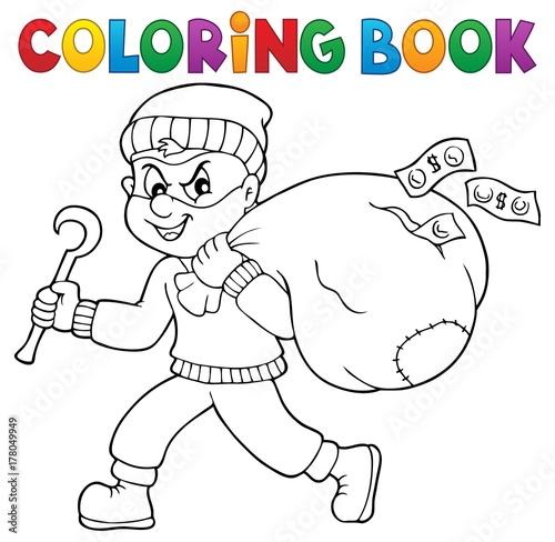 Papiers peints Enfants Coloring book thief with bag of money