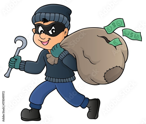 Papiers peints Enfants Thief with bag of money theme 1