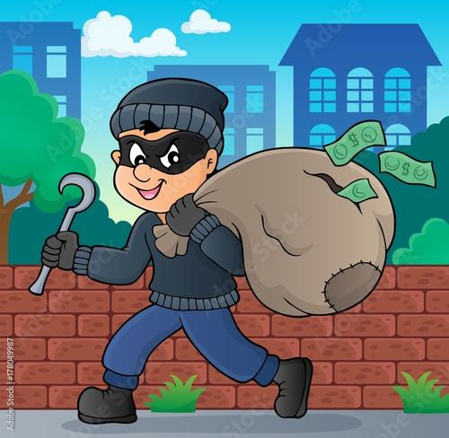 Papiers peints Enfants Thief with bag of money theme 2