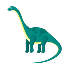 Cute cartoon flat blue or green high diplodocus character. Vector isolated dinosaur with long neck and tail, illustration for kids book, app, advertisement design, label or sticker