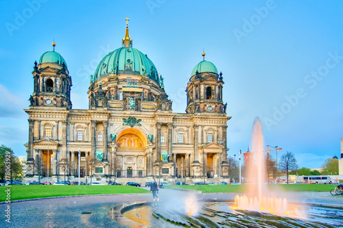 Twilight at Berlin Cathedral or Berliner Dom in Berlin city, Germany Poster