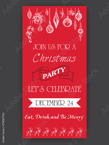 vector illustration sketch christmas party invitation with toys holiday background and design banner or poster
