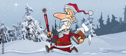 cartoon joyous Santa Claus is quickly running through the winter forest