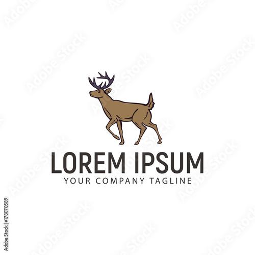 Aluminium Hipster Hert deer logo. hand drawn design concept template