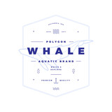 Polygonal Whale Badge on White