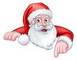 Santa Cartoon Pointing Down from Behind Sign - 178077133