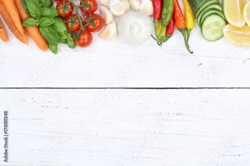 Poster Gemüse Sammlung Tomaten Karotten kochen Zutaten Textfreiraum von oben