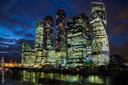 Skyscrapers of the business center of Moscow City in the evening Poster