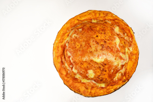 Fotobehang Pizzeria Pizza with cheese and closed top isolated on white background