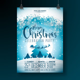 Vector Merry Christmas Party Design with Holiday Typography Elements and Multicolor Ornamental Balls on Shiny Background. Celebration Fliyer Illustration. EPS 10. - 178088703