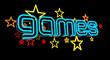 Neon Games Sign on Dark Background. 3D illustration