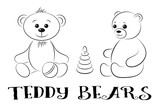 Cartoon Teddy Bears with Childrens Toys, Ball and Pyramid, Black Contours Isolated on White Background. Vector