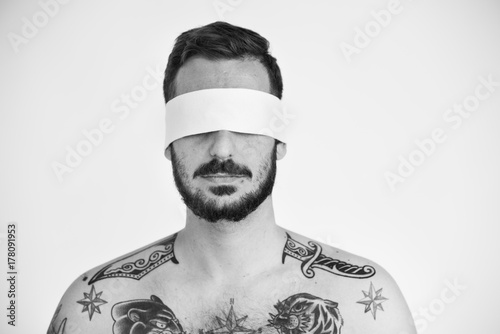 Handsome Man Covering Eyes Blind Concept Poster