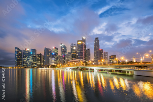 Singapore skyline financial district ,travel location at twilight time Poster
