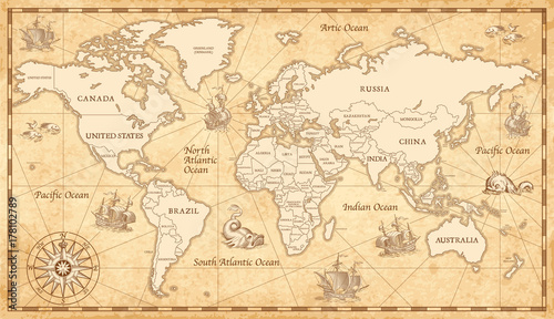 Old Vintage World Map © pingebat