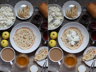 pancakes with cottage cheese and other sweet additives on the wood surface