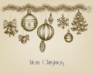 Vintage Christmas ornaments, hand drawn garland