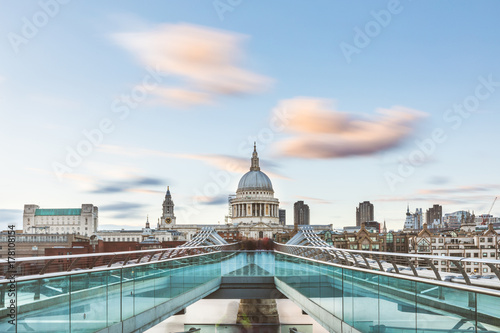 Fotobehang Londen London and St Paul Cathedral with blurred clouds