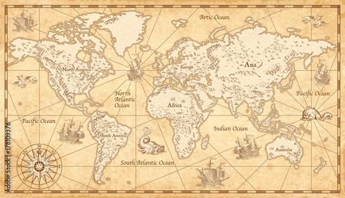 Fototapeta Vintage Illustrated World Map