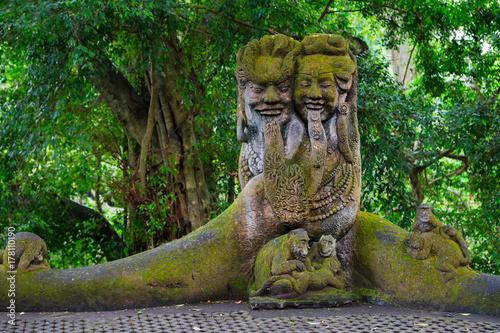 Aluminium Bali Sacred Monkey Forest Sanctuary in Ubud. Bali Island, Indonesia