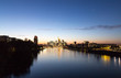 Frankfurt am Main Skyline bei Sonnenuntergang Hessen Deutschland
