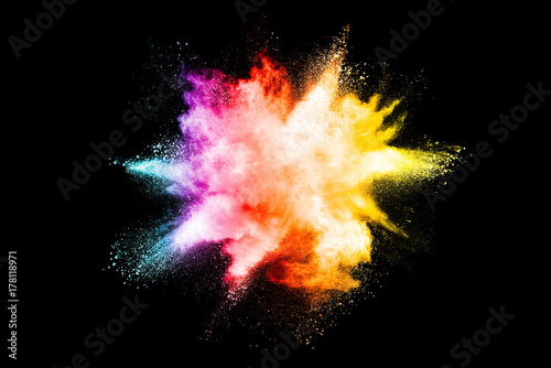 Explosion of colored powder isolated on black background. - 178118971